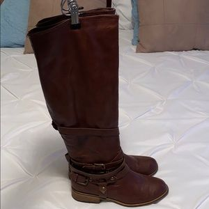 Bamboo Brown Leather Riding Boots